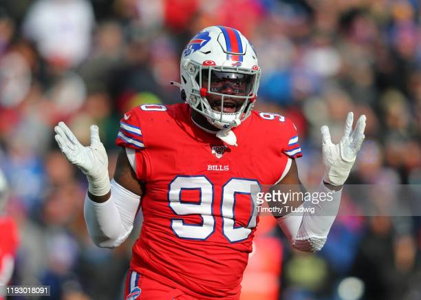 Shaq Lawson of the Buffalo Bills against the Baltimore Ravens at New Era Field on December 8 2019 in Orchard Park New York Baltimore beats Buffalo 24...