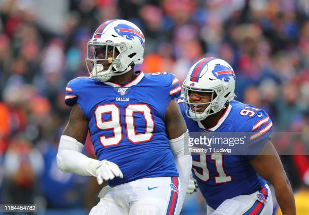Shaq Lawson of the Buffalo Bills celebrates his sack during the second half against the Denver Broncos at New Era Field on November 24 2019 in...