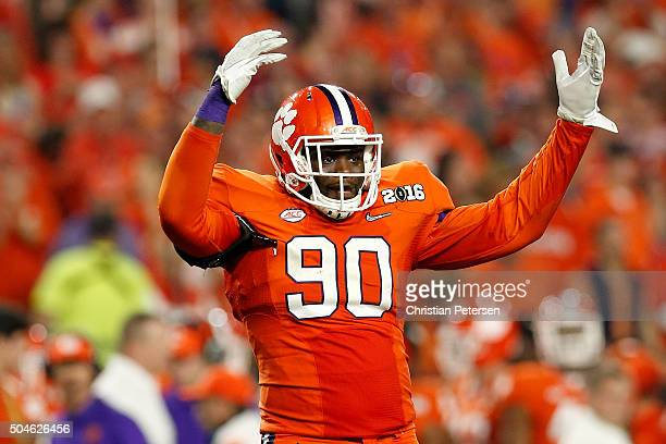Shaq Lawson of the Clemson Tigers reacts against the Alabama Crimson Tide during the 2016 College Football Playoff National Championship Game at...