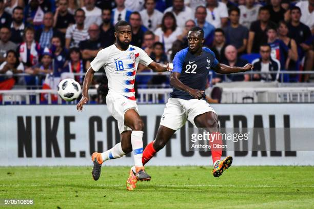 Shaq Moore of USA and Benjamin Mendy of France during the International Friendly match between France and United States at Groupama Stadium on June 9...