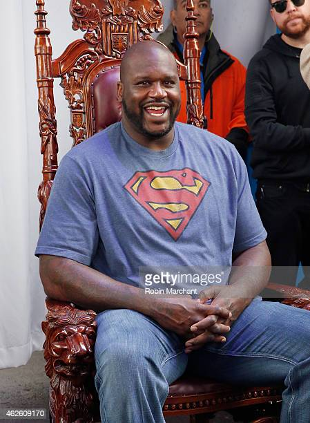 Shaq poses for instant paintings at Bud Light House of Whatever which featured three days of parties concerts and activities leading up to Super Bowl...