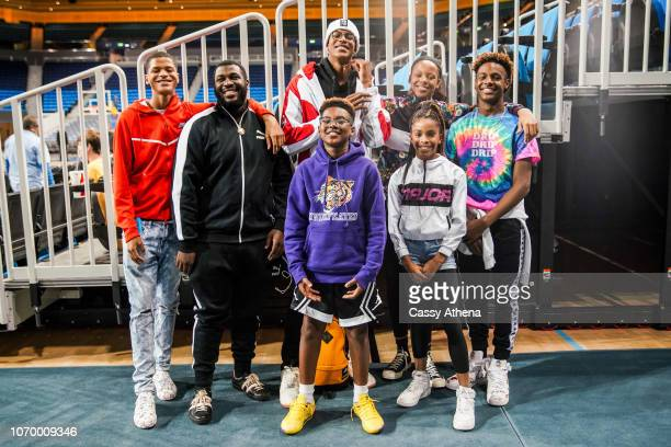 Shaqir O'Neal Gregory Jordan Shareef O'Neal Bryce James Me'Arah O'Neal and LeBron James Jr pose after a game against the UCLA Bruins and the...