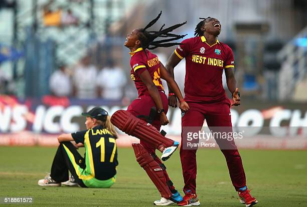 Shaquana Quintyne and Shamilia Connell of the West Indies celebrate victory during the Women's ICC World Twenty20 India 2016 Final match between...