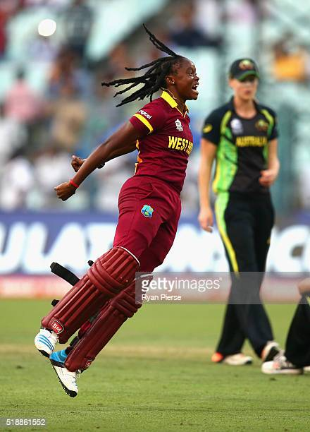 Shaquana Quintyne of the West Indies celebrates victory during the Women's ICC World Twenty20 India 2016 Final match between Australia and West...