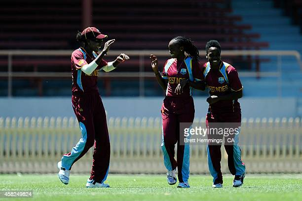 Shaquana Quintyne of West Indies celebrates the wicket of Elyse Villani of Australia during the women's International Twenty20 match between...