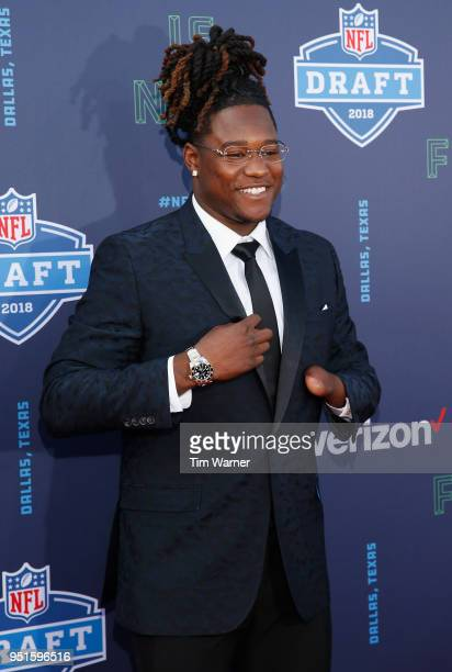 Shaquem Griffin of UCF poses on the red carpet prior to the start of the 2018 NFL Draft at ATT Stadium on April 26 2018 in Arlington Texas
