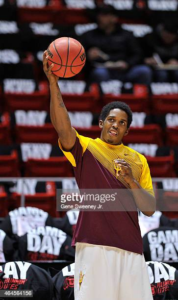 Shaquielle McKissic of the Arizona State Sun Devils stretches before their game against the Utah Utes at the Jon M Huntsman Center on February 26...