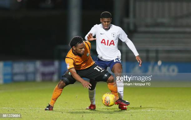 Shaquile Coulthirst of Barnet and Timothy Eyoma of Tottenham during the Checkatrade Trophy match between Barnet and Tottenham Hotspur U23 at The Hive...