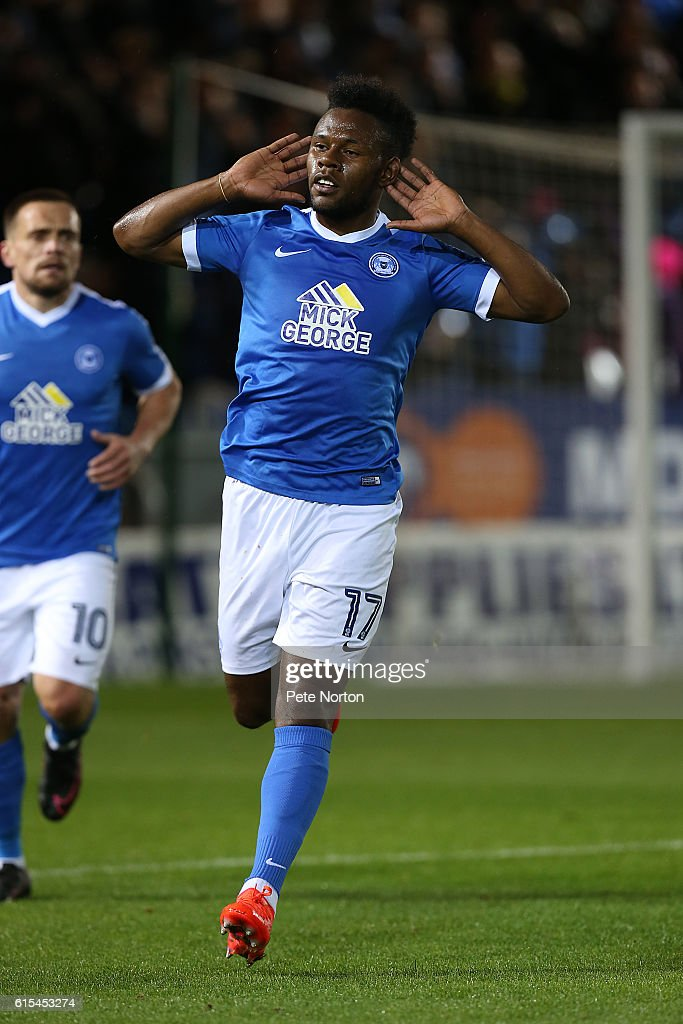 Shaquile Coulthirst of Peterborough United celebrates after sscoring his sides first goal during the Sky Bet League One match between Peterborough United and Northampton Town at ABAX Stadium on October 18, 2016 in Peterborough, England.