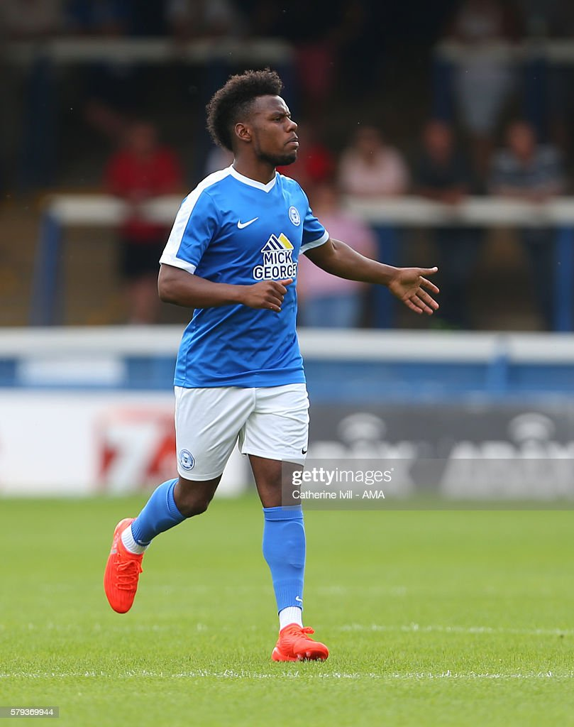 Shaquile Coulthirst of Peterborough United during the Pre-Season Friendly match between Peterborough United and Leeds United at London Road Stadium on July 23, 2016 in Peterborough, England.