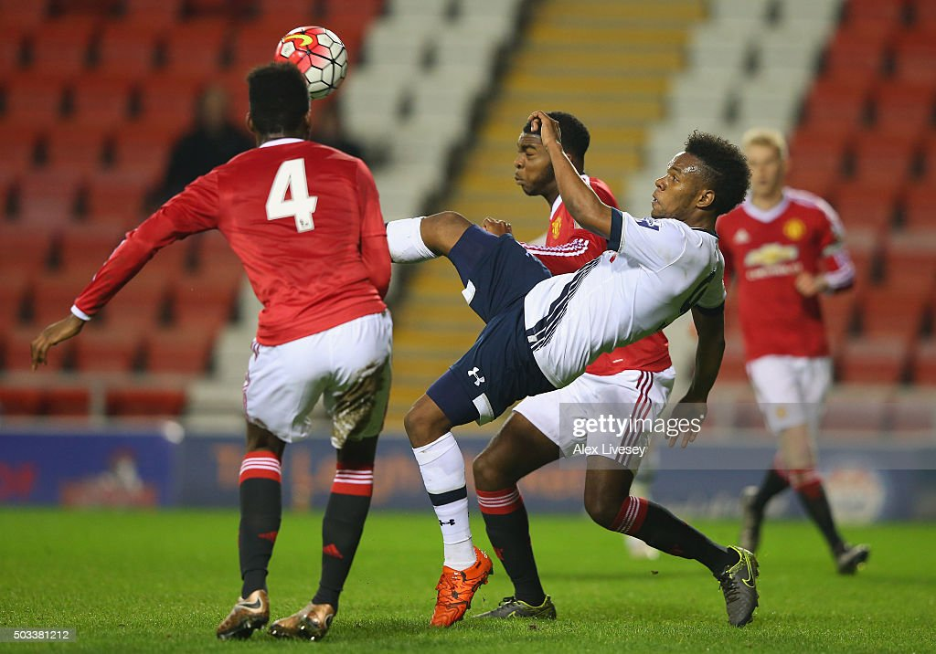 Shaquile Coulthirst of Tottenham Hotspur U21 attempts a overhead kick during the Barclays U21 Premier League match between Manchester United U21 and Tottenham Hotspur U21 at Leigh Sports Village on January 4, 2016 in Leigh, Greater Manchester.
