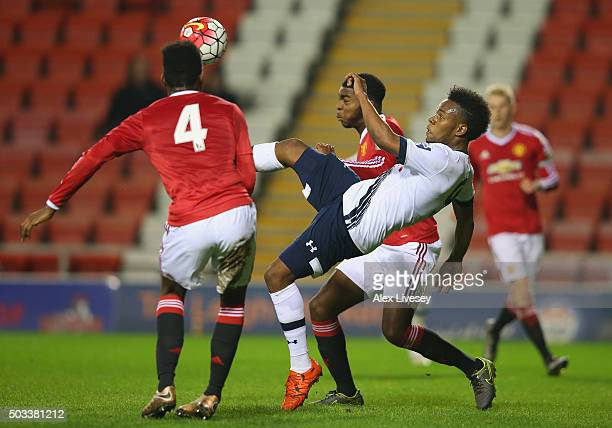 Shaquile Coulthirst of Tottenham Hotspur U21 attempts a overhead kick during the Barclays U21 Premier League match between Manchester United U21 and...