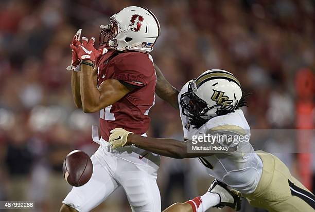 Shaquill Griffin of the UCF Knights breaks up a pass to Isaiah BrandtSims of the Stanford Cardinal in the second quarter at Stanford Stadium on...