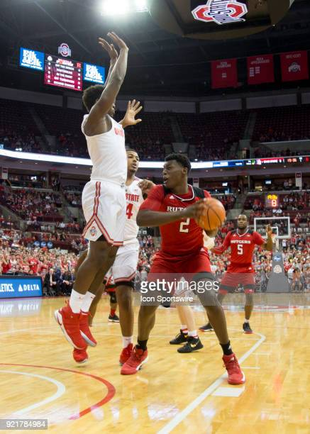 Shaquille Doorson of the Rutgers Scarlet Knights controls the ball during the game between the Ohio State Buckeyes and the Rutgers Scarlet Knights at...