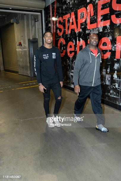 Shaquille Harrison of the Chicago Bulls arrives to the game against the LA Clippers on March 15 2019 at STAPLES Center in Los Angeles California NOTE...