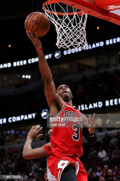 Shaquille Harrison of the Chicago Bulls attempts a shot in the third quarter against the Detroit Pistons at the United Center on November 20 2019 in...