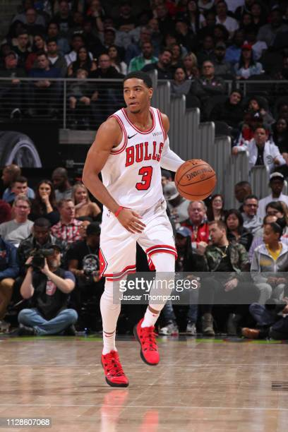 Shaquille Harrison of the Chicago Bulls dribbles the ball against the Atlanta Hawks on March 1 2019 at State Farm Arena in Atlanta Georgia NOTE TO...
