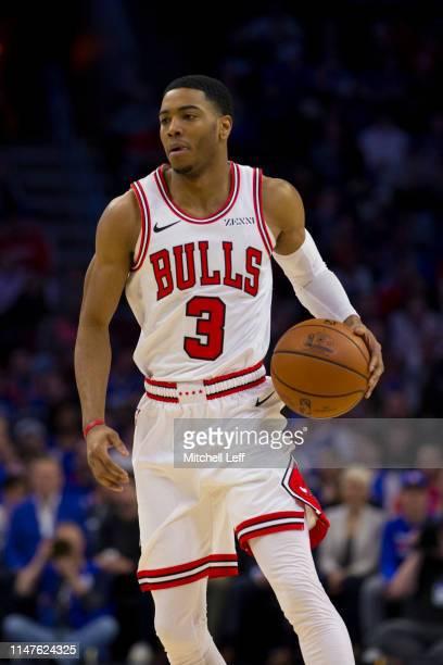 Shaquille Harrison of the Chicago Bulls dribbles the ball against the Philadelphia 76ers at the Wells Fargo Center on April 10 2019 in Philadelphia...