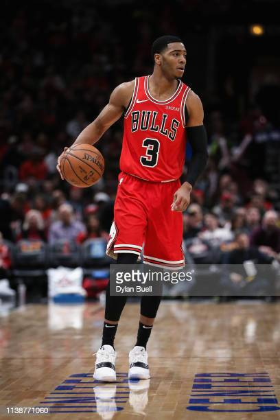 Shaquille Harrison of the Chicago Bulls dribbles the ball in the first quarter against the Portland Trail Blazers at the United Center on March 27...