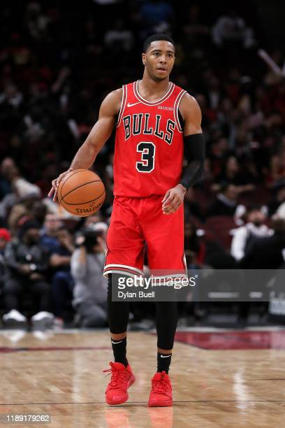 Shaquille Harrison of the Chicago Bulls dribbles the ball in the fourth quarter against the Detroit Pistons at the United Center on November 20 2019...