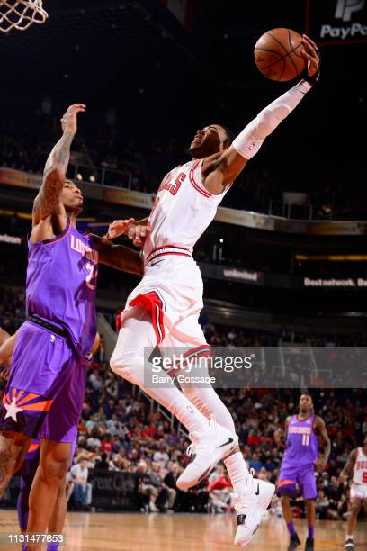 Shaquille Harrison of the Chicago Bulls dunks the ball against the Phoenix Suns on March 18 2019 at Talking Stick Resort Arena in Phoenix Arizona...