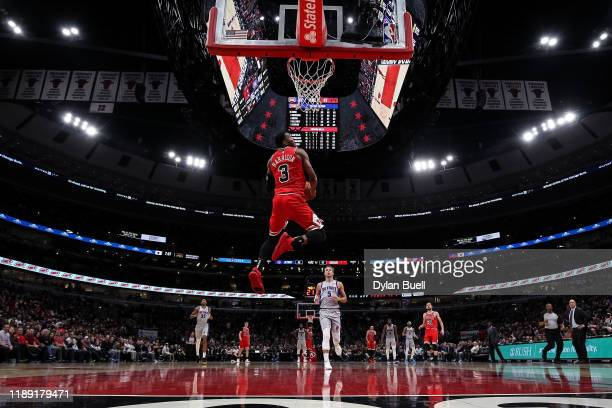Shaquille Harrison of the Chicago Bulls dunks the ball in the second quarter against the Detroit Pistons at the United Center on November 20 2019 in...