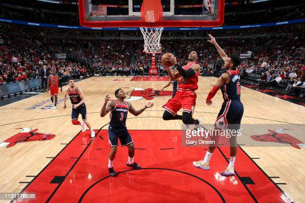 Shaquille Harrison of the Chicago Bulls goes to the basket against the Washington Wizards on March 20 2019 at the United Center in Chicago Illinois...