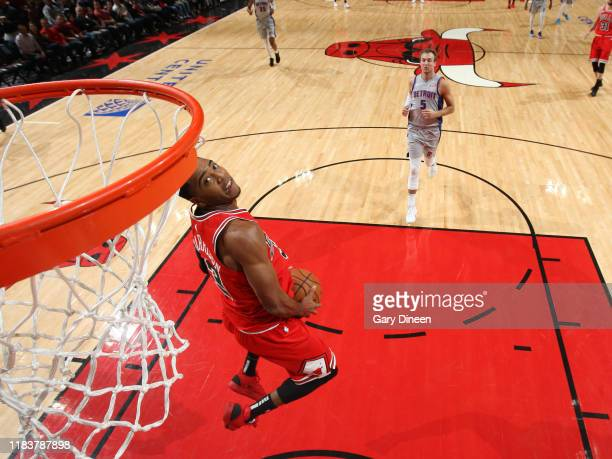 Shaquille Harrison of the Chicago Bulls goes up for a dunk during the game against the Detroit Pistons on November 20 2019 at the United Center in...