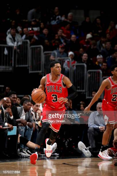Shaquille Harrison of the Chicago Bulls handles the ball against the Boston Celtics on December 8 2018 at the United Center in Chicago Illinois NOTE...