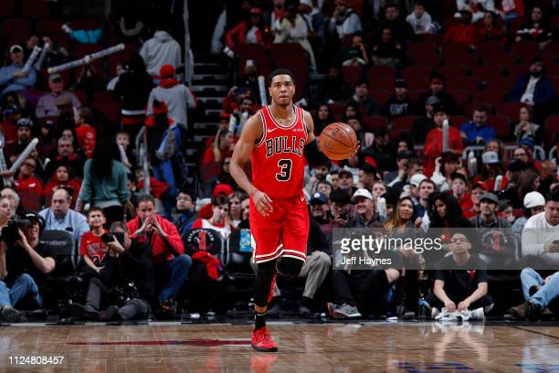 Shaquille Harrison of the Chicago Bulls handles the ball against the Memphis Grizzlies on February 13 2019 at United Center in Chicago Illinois NOTE...