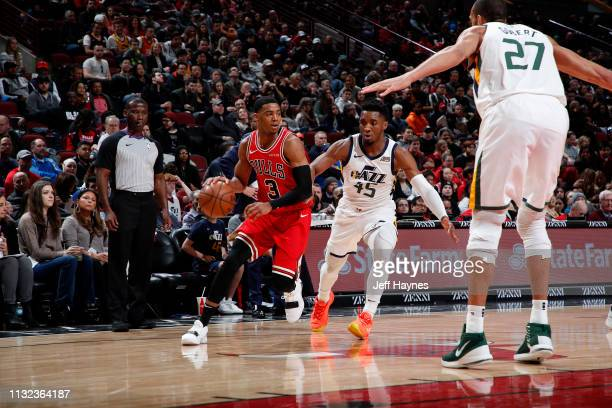 Shaquille Harrison of the Chicago Bulls handles the ball against the Utah Jazz on March 23 2019 at United Center in Chicago Illinois NOTE TO USER...