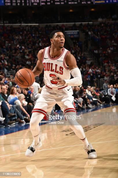 Shaquille Harrison of the Chicago Bulls handles the ball against the Philadelphia 76ers on April 10 2019 at the Wells Fargo Center in Philadelphia...