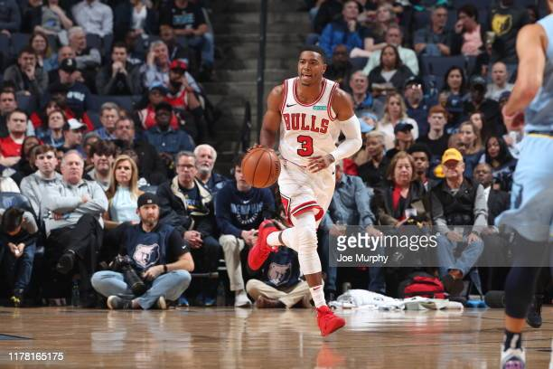 Shaquille Harrison of the Chicago Bulls handles the ball against the Memphis Grizzlies on October 25 2019 at FedExForum in Memphis Tennessee NOTE TO...