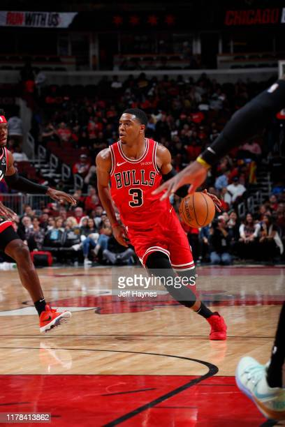 Shaquille Harrison of the Chicago Bulls handles the ball against the Toronto Raptors on October 26 2019 at United Center in Chicago Illinois NOTE TO...