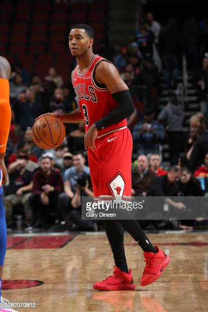 Shaquille Harrison of the Chicago Bulls handles the ball against the New York Knicks on November 12 2019 at the United Center in Chicago Illinois...