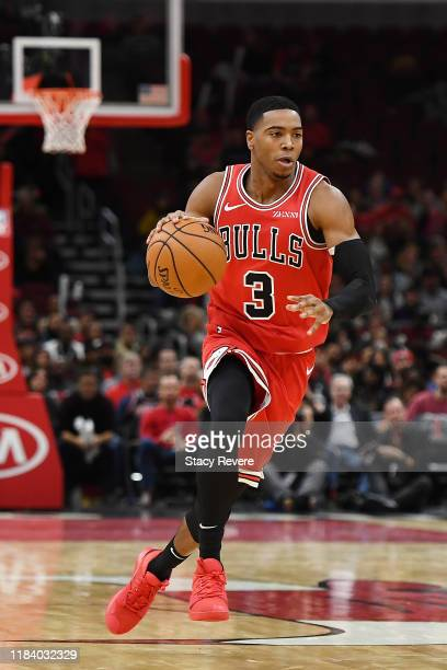 Shaquille Harrison of the Chicago Bulls handles the ball during a game against the Toronto Raptors at United Center on October 26 2019 in Chicago...