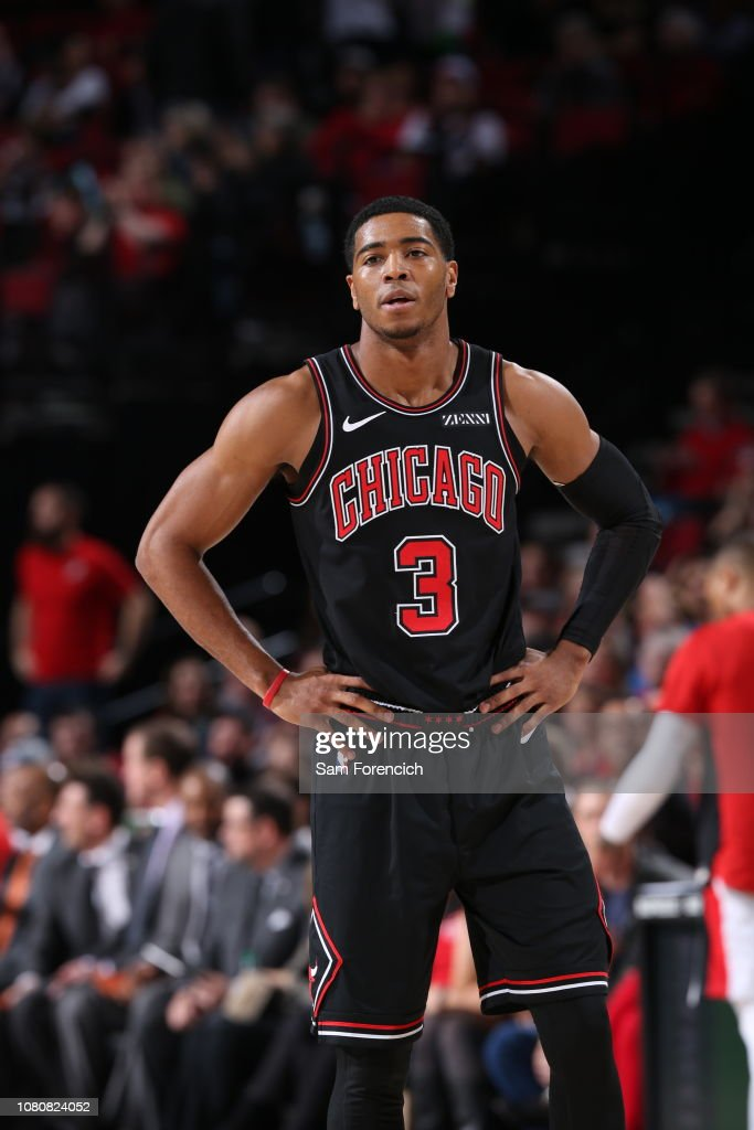 huge selection of 21e78 9ee44 Shaquille Harrison of the Chicago Bulls looks on against the ...