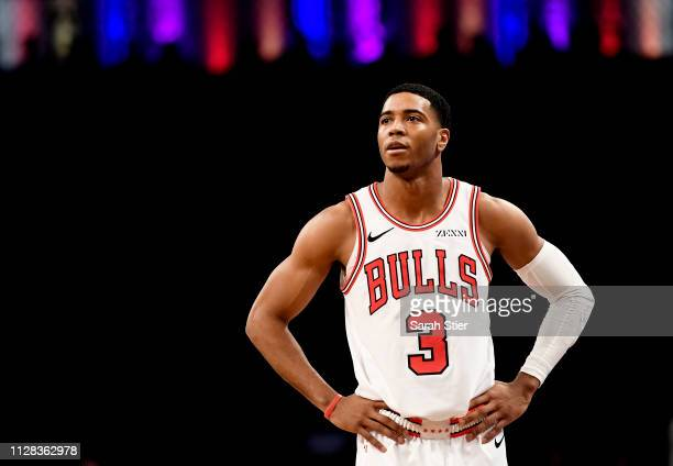 Shaquille Harrison of the Chicago Bulls looks on during the second half of the game against the Brooklyn Nets at Barclays Center on February 08 2019...
