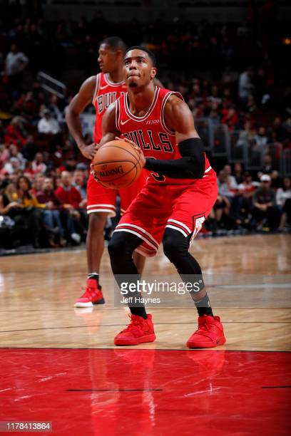 Shaquille Harrison of the Chicago Bulls shoots a free throw against the Toronto Raptors on October 26 2019 at United Center in Chicago Illinois NOTE...