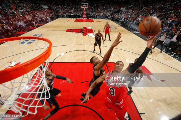 Shaquille Harrison of the Chicago Bulls shoots the ball against the Phoenix Suns on November 21 2018 at United Center in Chicago Illinois NOTE TO...
