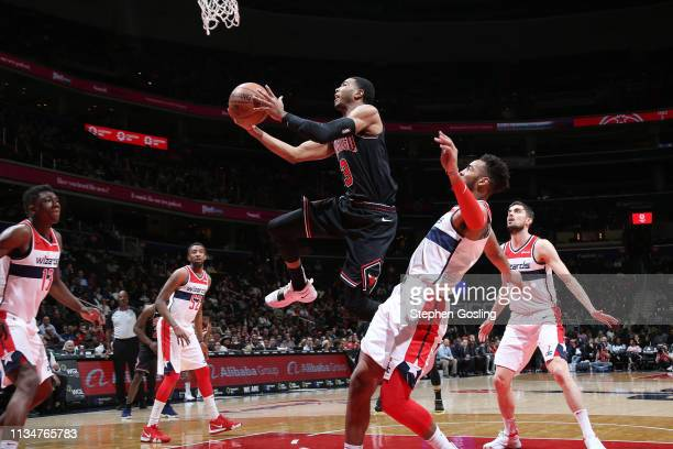 Shaquille Harrison of the Chicago Bulls shoots the ball against the Washington Wizards on April 3 2019 at Capital One Arena in Washington DC NOTE TO...