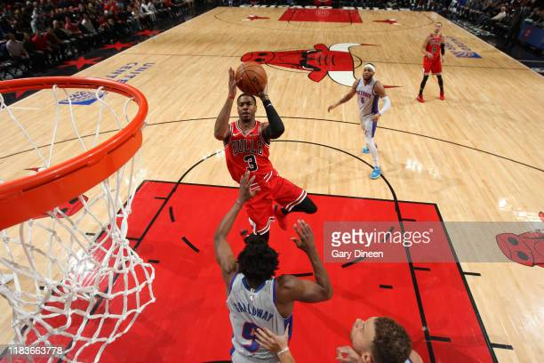 Shaquille Harrison of the Chicago Bulls shoots the ball against the Detroit Pistons on November 20 2019 at the United Center in Chicago Illinois NOTE...