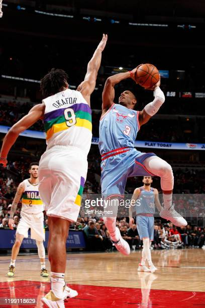 Shaquille Harrison of the Chicago Bulls shoots the ball against the New Orleans Pelicans on February 6 2020 at United Center in Chicago Illinois NOTE...