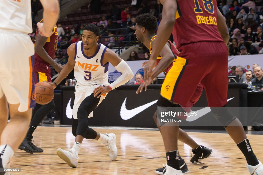 Shaquille Harrison #3 of the Northern Arizona Suns dribbles the ball against the Canton Charge during the NBA G-League Showcase on January 12, 2018 at the Hershey Centre in Mississauga, Ontario Canada.