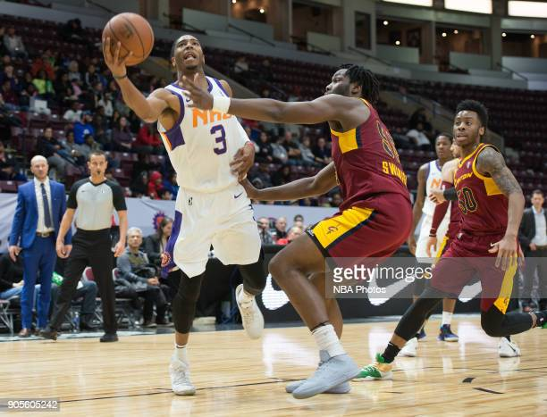 Shaquille Harrison of the Northern Arizona Suns drives to the basket against the Canton Charge during the NBA GLeague Showcase on January 12 2018 at...