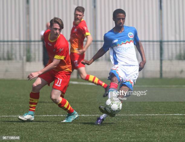 Shaquille Ismail of Barrawa during Conifa Paddy Power World Football Cup 2018 Group A match between Barawa against Ellan Vannin at Coles Park Stadium...