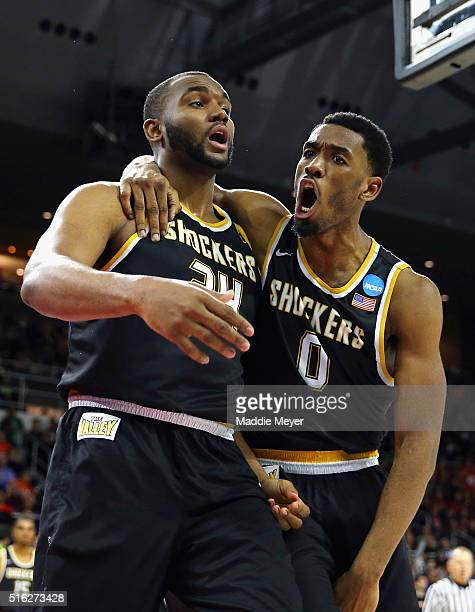 Shaquille Morris of the Wichita State Shockers and Rashard Kelly react in the second half against the Arizona Wildcats during the first round of the...