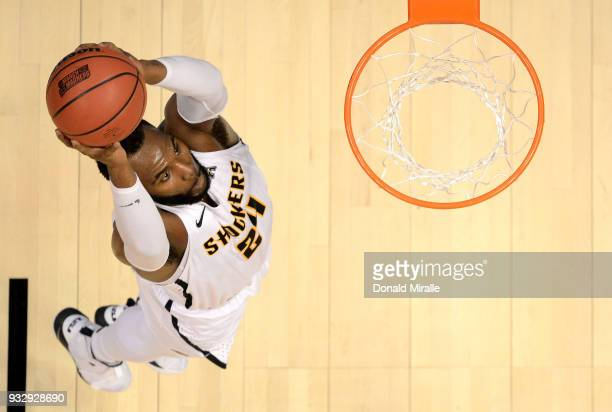 Shaquille Morris of the Wichita State Shockers goes up for a dunk against the Marshall Thundering Herd during the first round of the 2018 NCAA Men's...