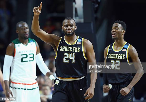 Shaquille Morris of the Wichita State Shockers reacts in the second half against the Miami Hurricanes during the second round of the 2016 NCAA Men's...