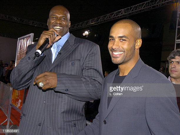 Shaquille O' Neal and Boris Kodjoe during General Motors Shaquille O'Neal Present Rollin' 24 Deep GMAll Car Showdown Red Carpet at Raleigh Studios in...